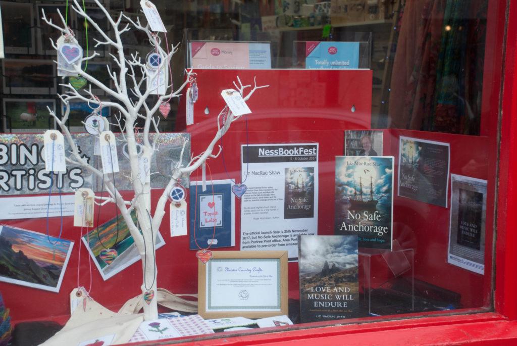 Books in Portree Post Office window