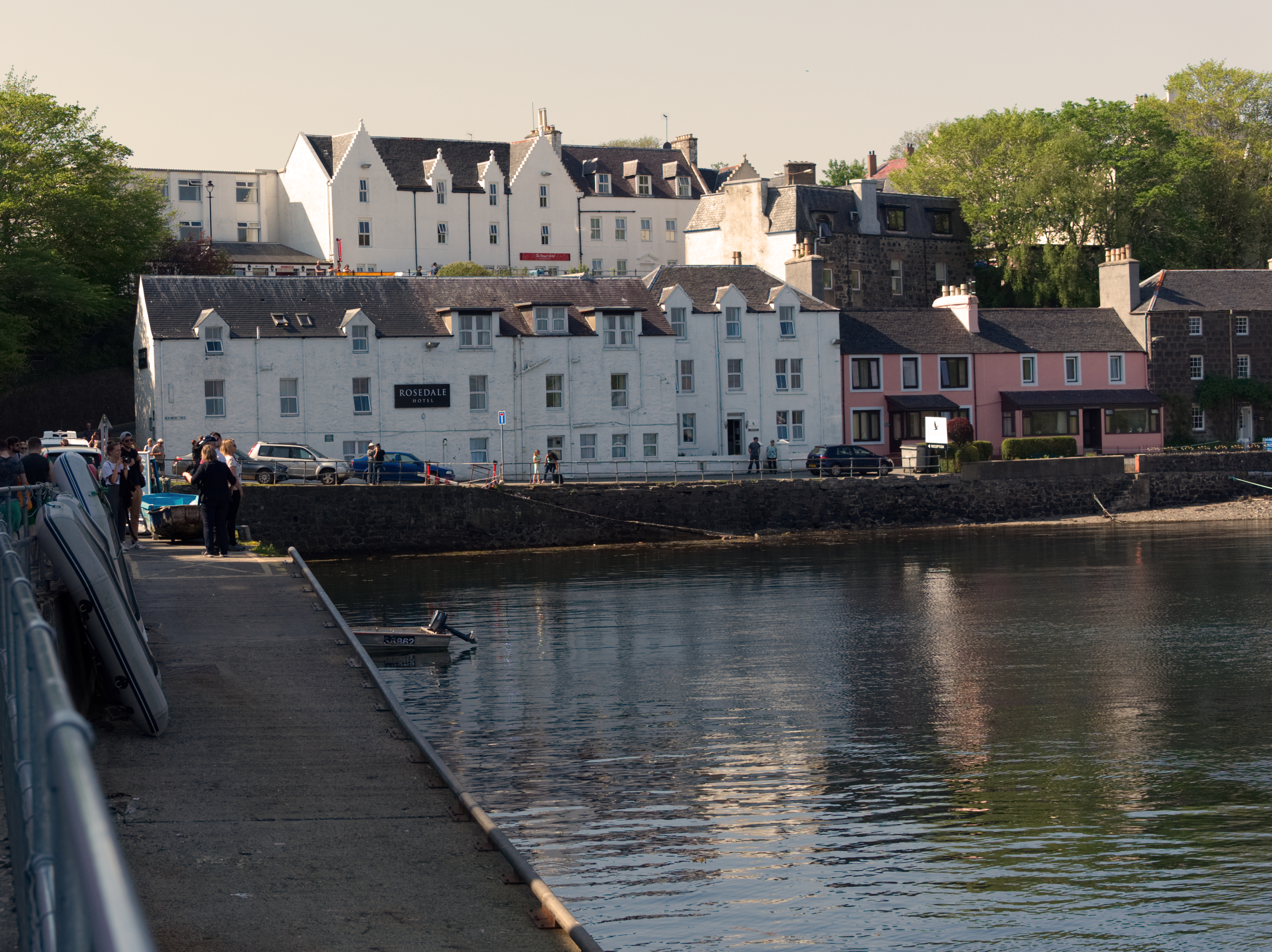 Portree pier and Mairi Mhor's house